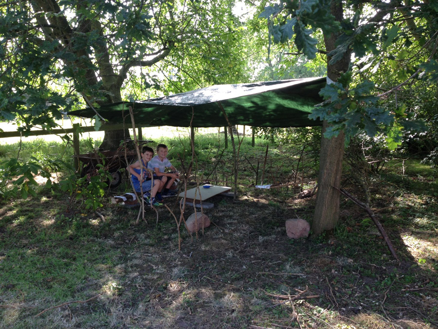 Making a den during the summer holidays