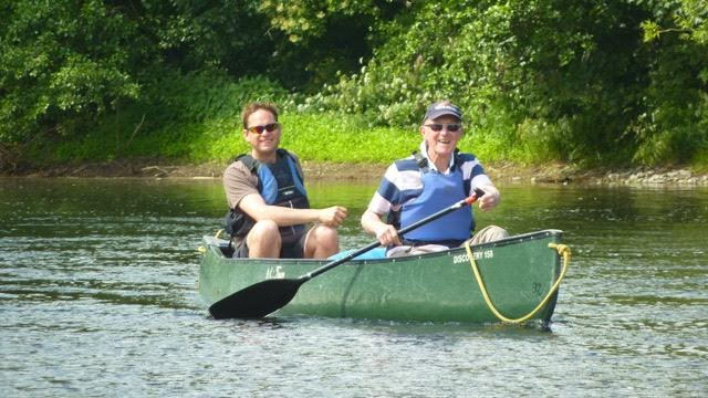 This is John who was celebrating his 80th birthday canoeing on the Wye with his son
