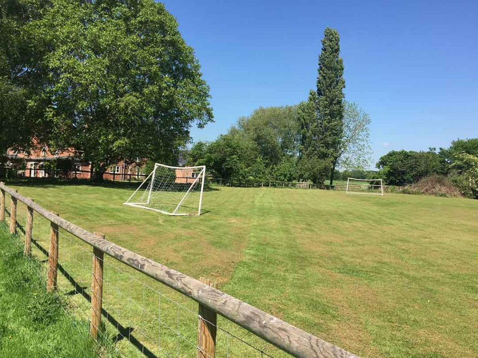 The mown playing field in high summer