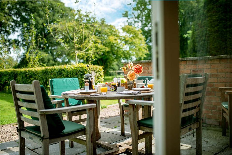 Breakfast on the terrace at the cottage