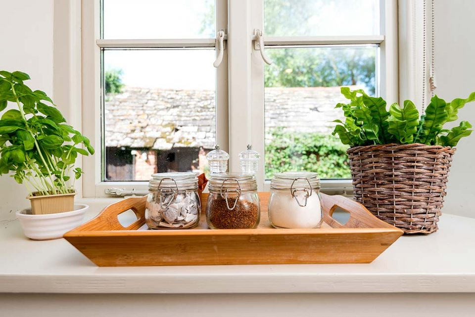 Windowsill in the kitchen of the cottage