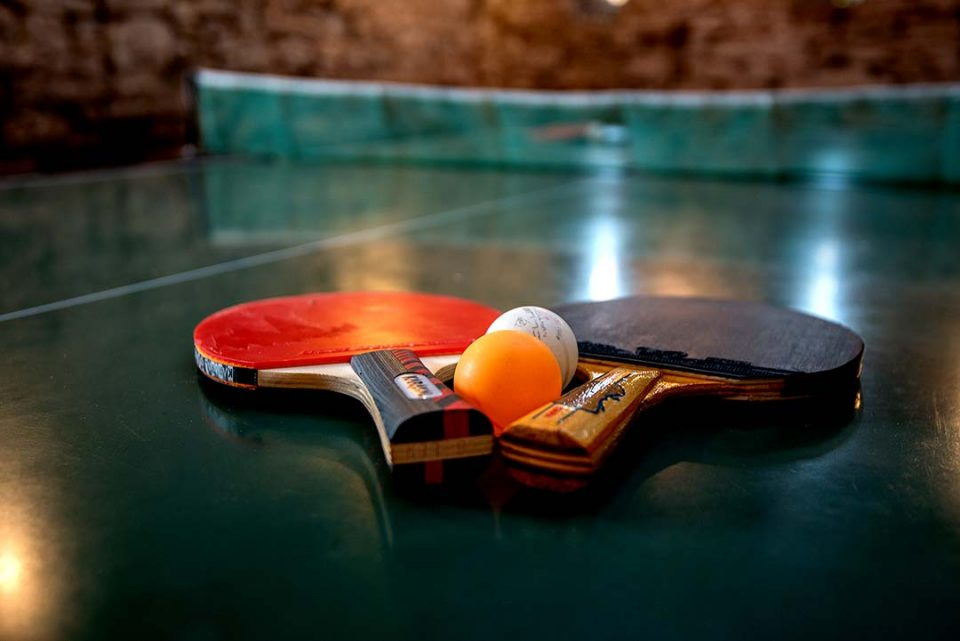 Bring your trainers and fleece and enjoy a game of table tennis in this rustic room