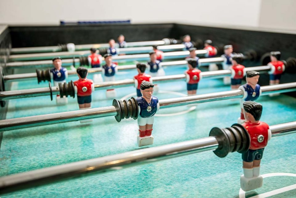 Table football in available in the games room in the outbuildings
