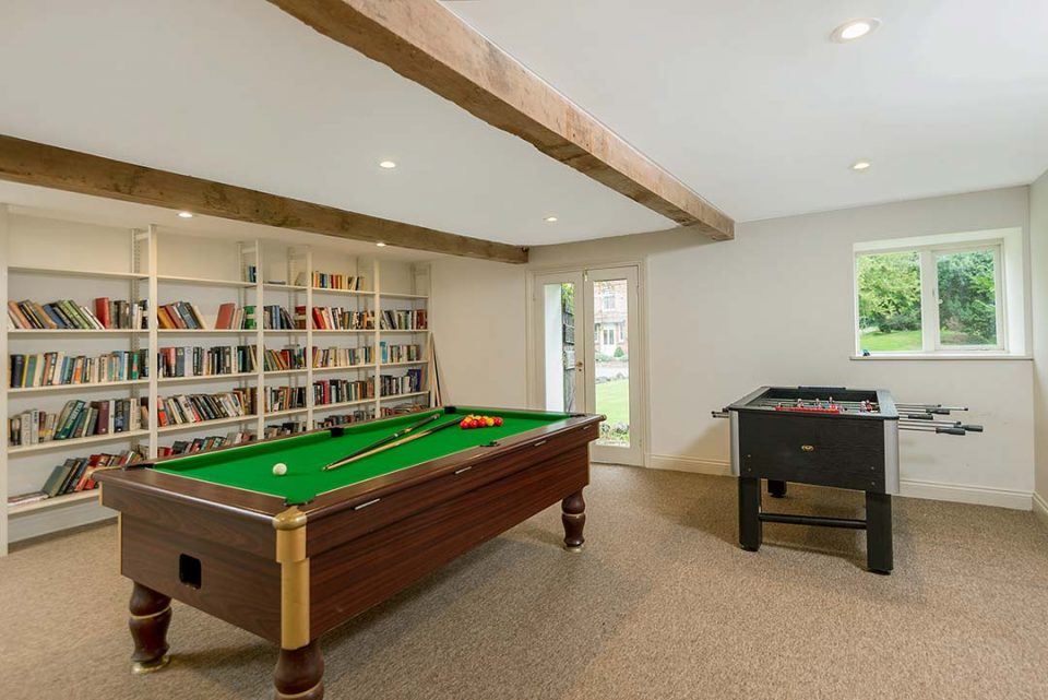 Pub sized pool table in the games room which is located in the outbuildings